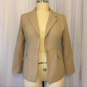 Taupe Career Work Blazer with Pockets Size 14